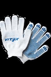 Х/б перчатки белые с точечным напылением ПВХ и логотипом, 4-х ниточные, стандартной плотности вязки — 7,5 класса.